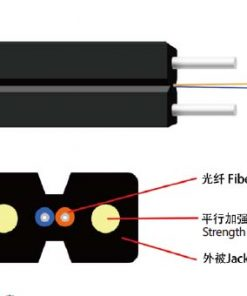 FTTH Drop Fiber SM 9 125 OS2 G 657A2 FRP Strength Member LSZH Butterfly Flat Indoor FTTH Drop Cable GJXFH Structure