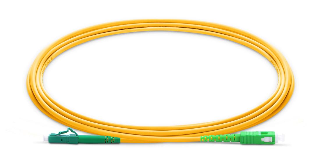 LC To SC APC Simplex Single Mode OS2 9/125 Fiber Patch Cord